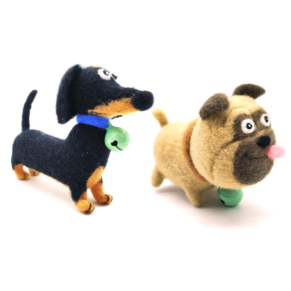 Artec360 Dachshund and Pug Dogs Needle Felting Kits for Beginners with Enough Tool Kits Height 3.5 (2 Pack) 4336935599