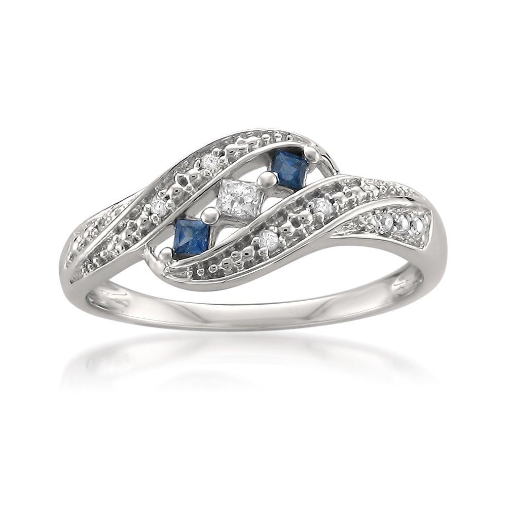 14k White Gold Princess-cut & Round Diamond & Blue Sapphire Fashion Band Ring (1/5 cttw, H-I, I1-I2), Size 9 by La4ve Diamonds