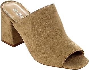 9296f9ef2cd Nature Breeze FG70 Women s Slip On Peep Toe Block Heel Mule Sandals
