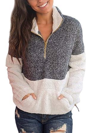 b4977647 For G and PL Women's Half Zip Fleece Sherpa Sweatshirt with Pocket