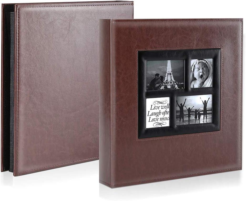 Vintage Leder Gro/ß Hochzeit Familie Fotoalbum zum Einstecken Schwarze Seiten f/ür 500 Pocket Bilder Blau Ywlake Fotoalbum Einsteckalbum 10x15 500 Fotos
