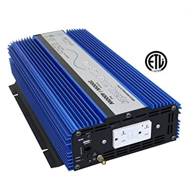 AIMS Power PWRI200012120S Pure Sine Power Inverter, 2000 Watt Continuous Power, 4000 Watt Peak Power, 12V DC, USB Port, Listed to UL 458, 2 Year Warranty, GFCI Outlet: Automotive