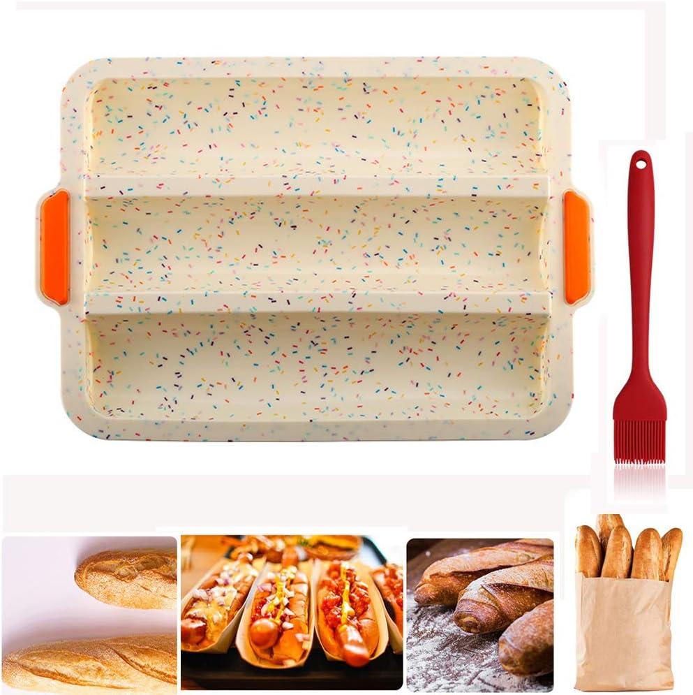 Molde de silicona para baguette 3 baguettes molde para hornear 32 x 24,5 cm antiadherente para pan franc/és