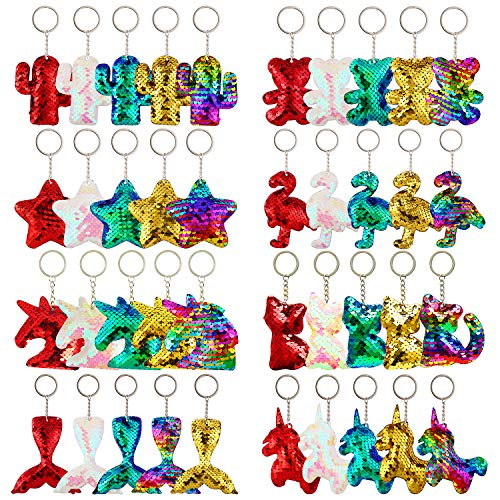 (Trounistro 40 Pieces Sequin Keychain Hanging Key Chain with Mermaid Tail Unicorn Pony Cat Star Flamingo Cub Cactus Shape keychains for Kids Girls Party favor - 8 Styles)