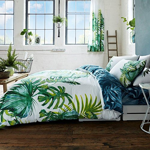 Botanical Palm Leaves 2 Piece UK King /US Queen Sheet Set, 1 x Double Sided Sheet and 2 x (Leaf Queen Duvet)