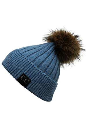 ScarvesMe CC Black Label Ribbed Real Racoon Fur Beanie with Pom Pom (Denim) 0fa92b9c4d9