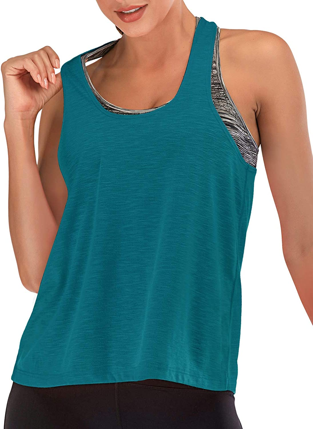 FAFAIR Workout Top With Bra Gym Tank Top Women Loose Racerback Yoga Vest Tops Running Athletic Shirts