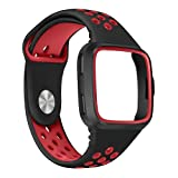Compatible Fitbit Versa Smartwatch Bands with Case, Tuscom Soft Silicone Sport Replacement Band Breathable Straps Wristband with Protective Frame for Fitbit Versa Men Women