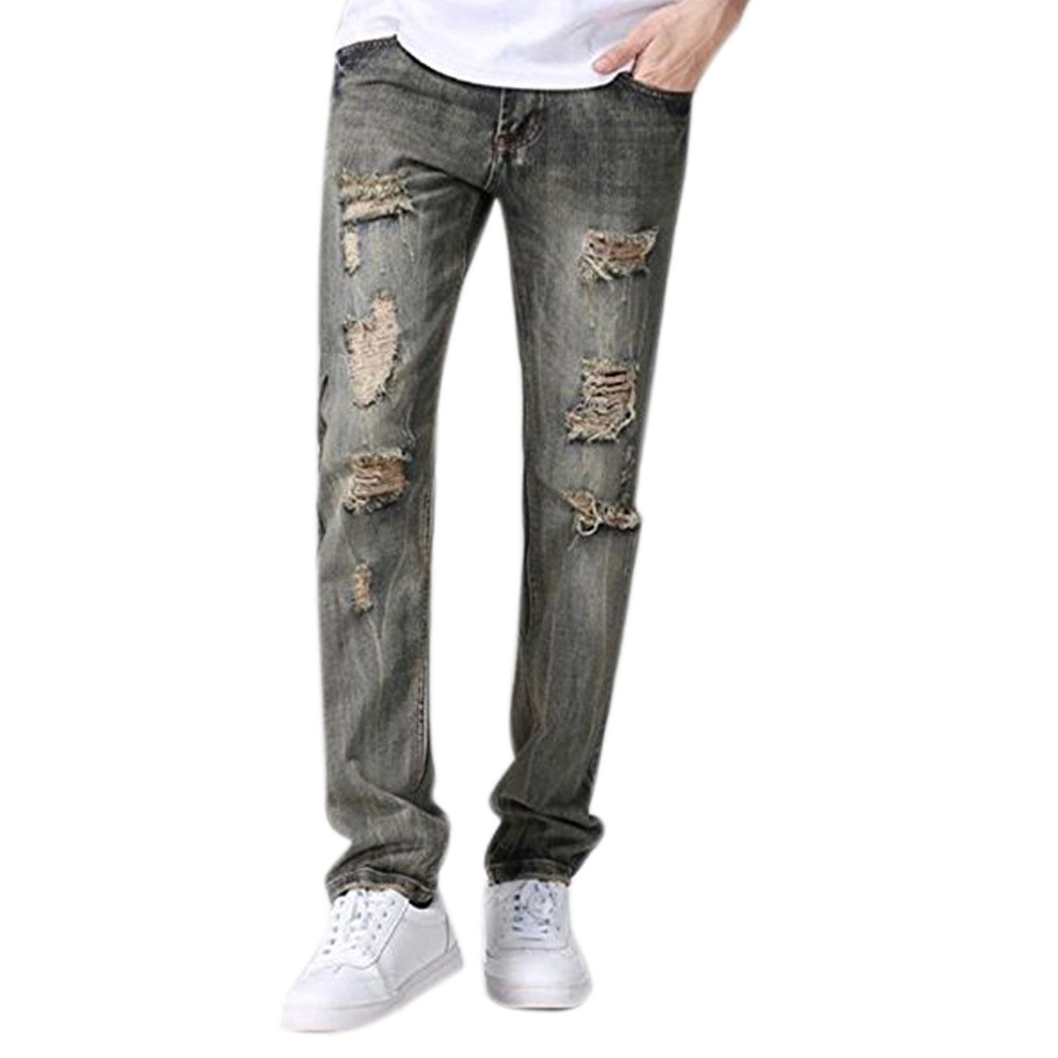 d8c7d697bb4 Evelin LEE Men s Ripped Slim Fit Straight Denim Jeans Jogger Pants Vintage  Style with Broken Holes at Amazon Men s Clothing store