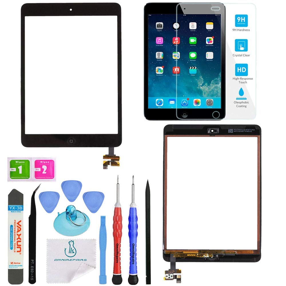 OmniRepairs Glass Touch Screen Digitizer OEM Assembly with Home Button IC Chip Compatible for iPad Mini 1st and 2nd Generation Model with Adhesive Tape, Screen Protector and Repair Toolkit (Black) by OmniRepairs