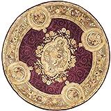 Safavieh Empire Collection EM414A Handmade Traditional European Dark Red and Dark Beige Premium Wool Round Area Rug (6' Diameter)