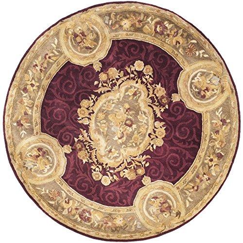 Safavieh Empire Collection EM414A Handmade Traditional European Dark Red and Dark Beige Premium Wool Round Area Rug (6' Diameter) by Safavieh
