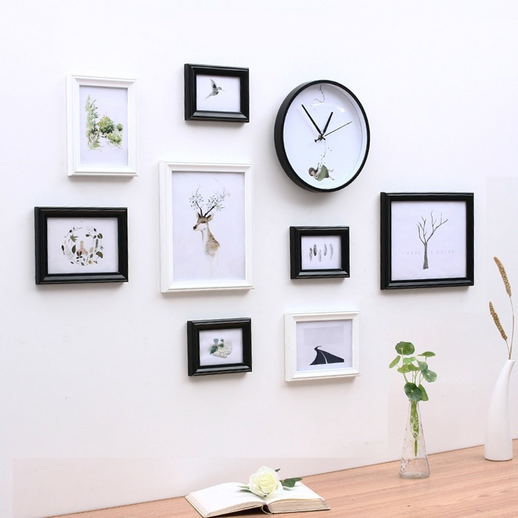 LQQGXL Solid wood photo wall frame home accessories combination Photo frame ( Color : White+Black )