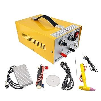 HUKOER Máquina soldadora de joyería 2 en 1 Pulse Sparkle Spot Welder 220V, Pulse-Electric Gold Plata Platinum, Herramientas de moldeode de alta calidad 80A: ...
