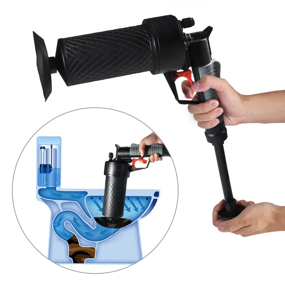 Toilet Plunger - Delaman Air Power Drain Blaster, Pipe Cleaner, Drain Opener, 4 Different Sized Suckers for Clogged, Bathroom Toilet, Bathtub, Washer