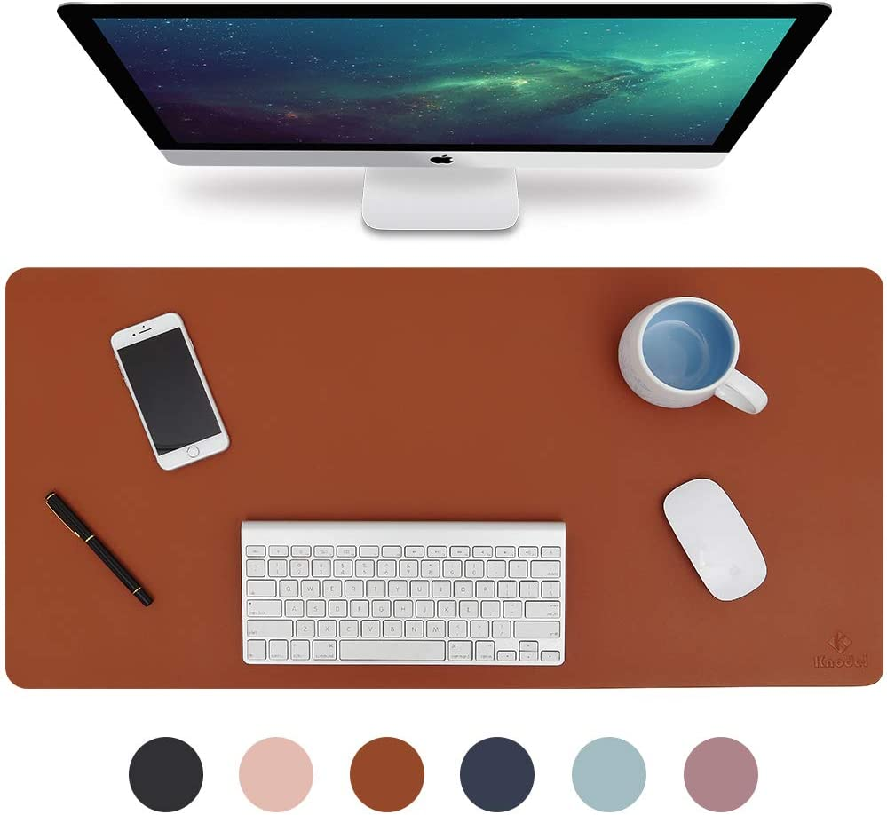 """Knodel Desk Pad, Office Desk Mat, 31.5"""" x 15.7"""" PU Leather Desk Blotter, Laptop Desk Mat, Waterproof Desk Writing Pad for Office and Home, Dual-Sided (Brown/Gray)"""
