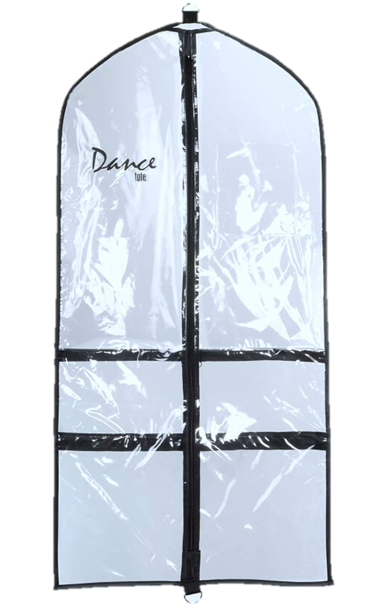 PACO Dance Competition and Costume Clear Garment Bag With Four Zippered Pockets - (Black Trim)