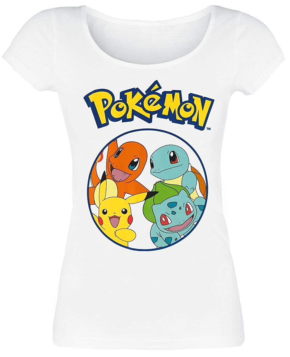 4e6ebf0d Top10: Pokemon T Shirt Characters Pikachu Squirtle Official Womens Junior  Fit White