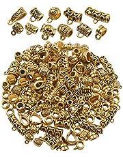 BronaGrand 100 جرام (حوالي 120-150 قطعة) خرز بكفالة ذهبي ومختلط، خرز مباشر، خرز أنبوبي، حُلي سوار، قلائد للمجوهرات وصناعة الحرف اليدوية