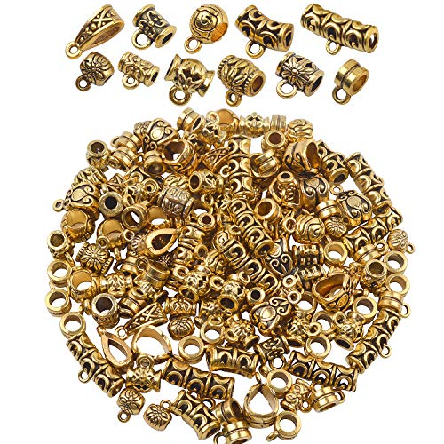 - BronaGrand 100g (About 120-150pcs) Mixed Antique Gold Bail Beads,Spacer Bead,Bail Tube Beads,Bracelet Charms,Necklace Pendants for Jewelry and Craft Making