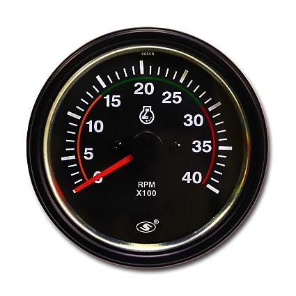 amazon com: 3 3/8 inch 85mm electric diesel tachometer 12 24 volt 4000 rpm  aftermarket alternator gauge meter analog black face auto automotive car  truck: