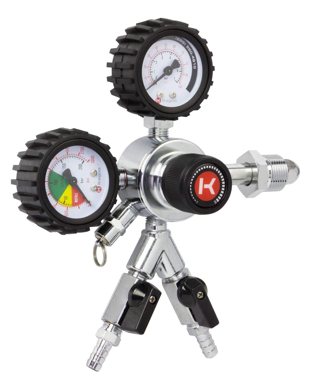 Kegco HL-62N-2 Premium Commercial Grade Dual Gauge Two Product Nitrogen Kegerator Regulator