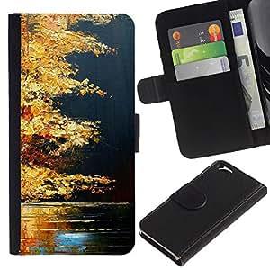 For Apple Apple (4.7 inches!!!) iPhone 6 / 6S Case , Fall Lake Nature Golden Brown - la tarjeta de Crédito Slots PU Funda de cuero Monedero caso cubierta de piel