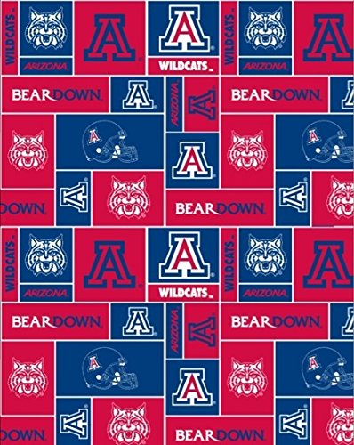 Arizona Wildcats Patch Polyester Fleece Fabric, Red & Blue - Sold By the Yard