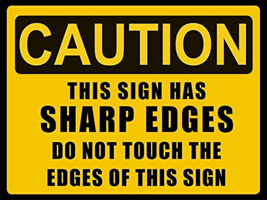 Shunry Caution Sharp Edges Placa Cartel Vintage Estaño Signo ...