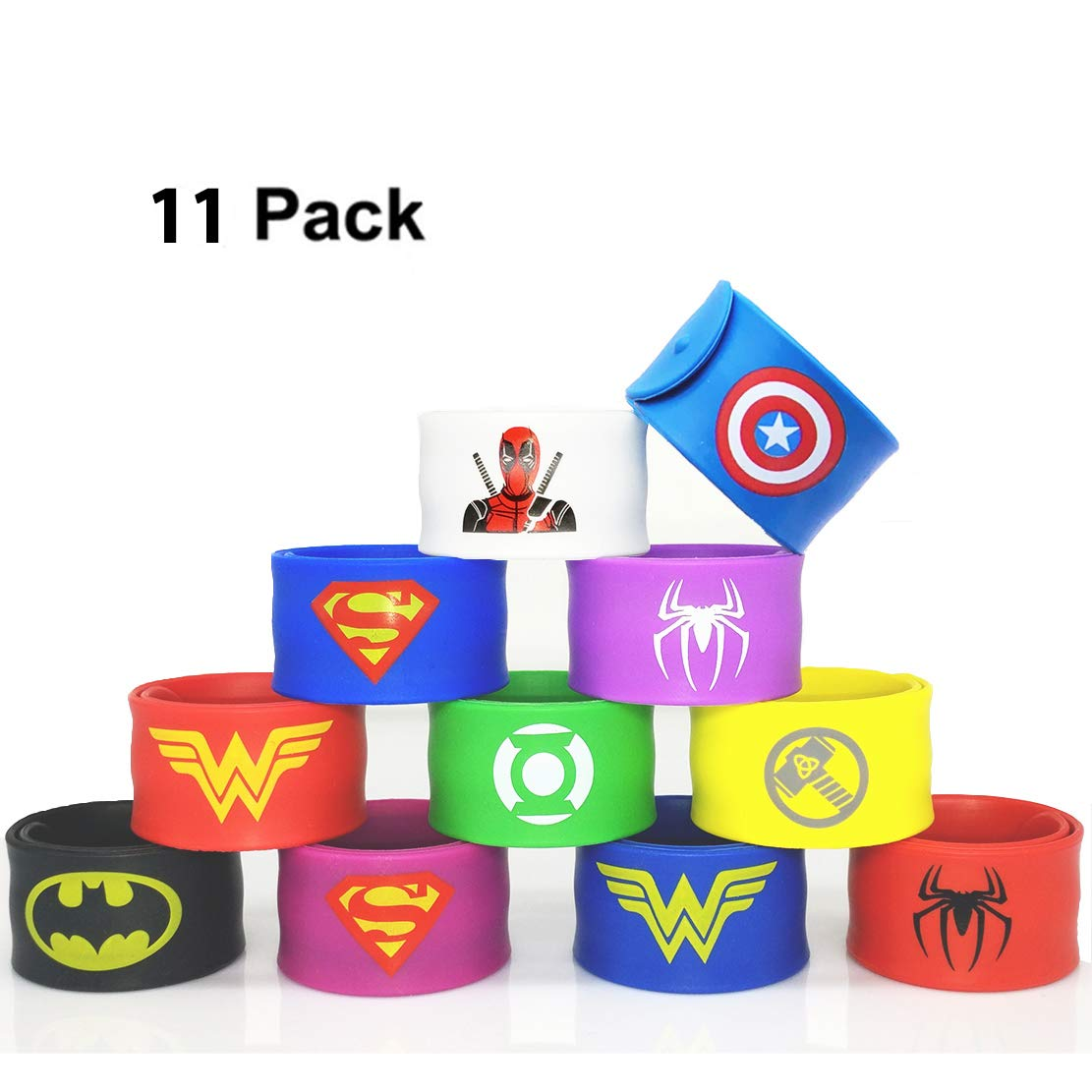 11 Pack Superheroes Slap Bands for Kids Party Supplies Snap Bracelets Party Bag Fillers for Boys Adults Birthday Kids Superhero Party Favors Toys (Style 1) Forwin Seller