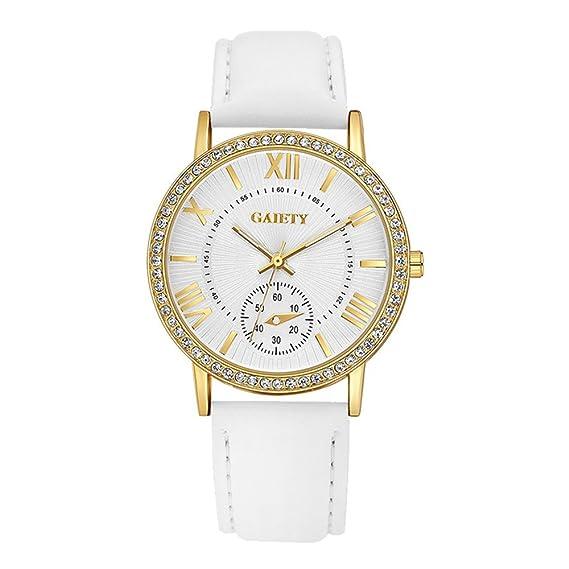 Mujer marcación reloj de pulsera piel pulsera reloj analógico para mujer Quartz Reloj Blanco
