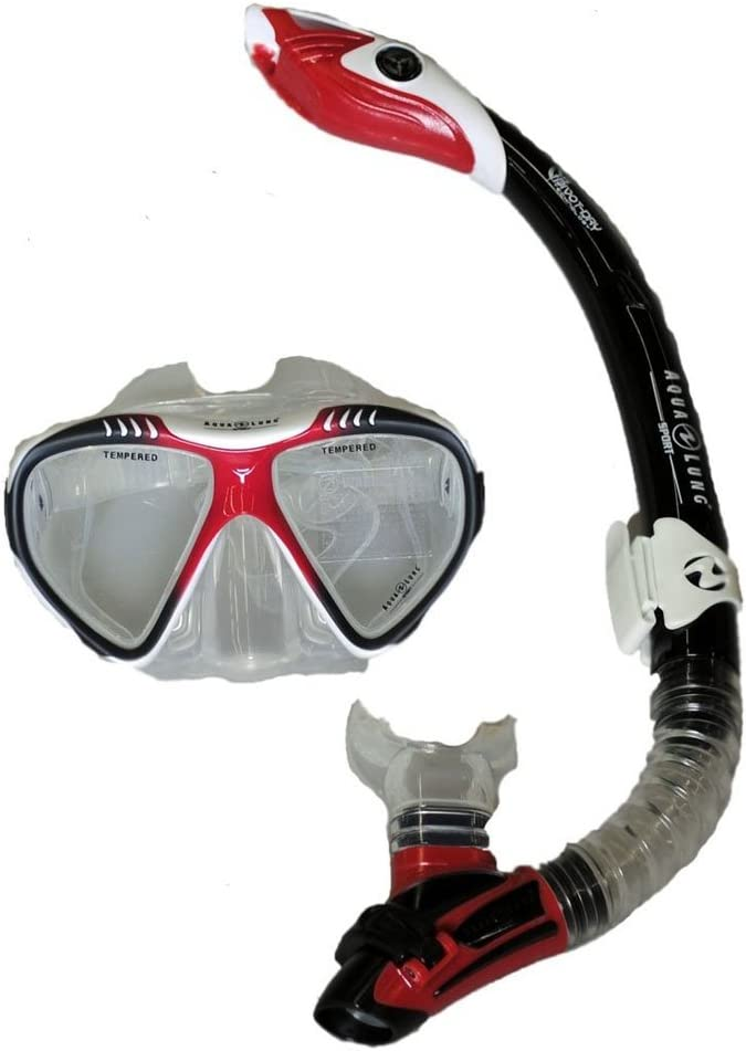 Aqua Lung Magellan Purge LX Mask with Case and Atlantis LX Snorkel - White/Red