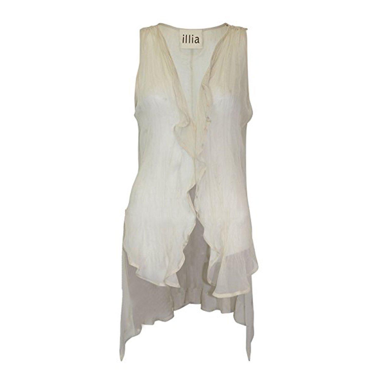 6 4 ILLIA Womens Chiffon Drape Vest Hopscotch 0