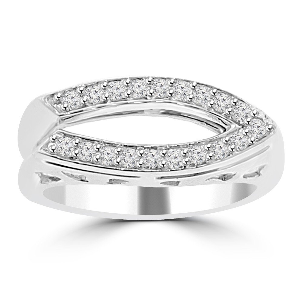 0.28 ct Ladies Round Cut Diamond Anniversary Wedding Band Ring (Color G Clarity SI-1) in 14 kt White Gold In Size 13.5