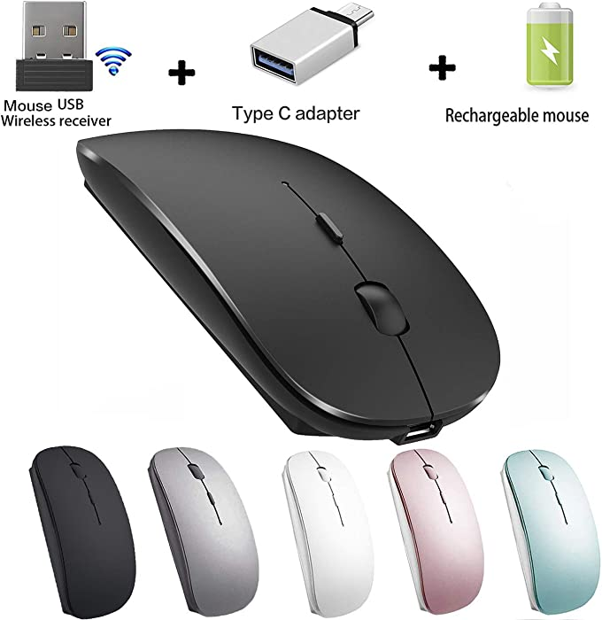 Wireless Mouse for MacBook iMac Desktop Computer Wireless Mouse (Black)
