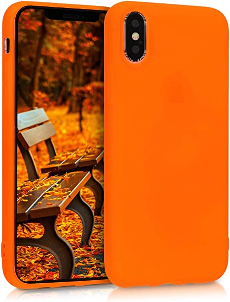 kwmobile TPU Case Compatible with Apple iPhone Xs - Soft Thin Slim Smooth Flexible Protective Phone Cover - Neon Orange