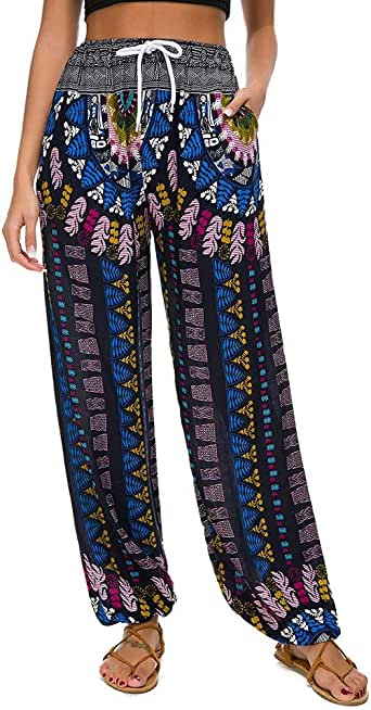 hositor Pants for Women, Fashion Ladies Striped Print Casual Leggings Pants Ladies Wide Leg Pants Trousers