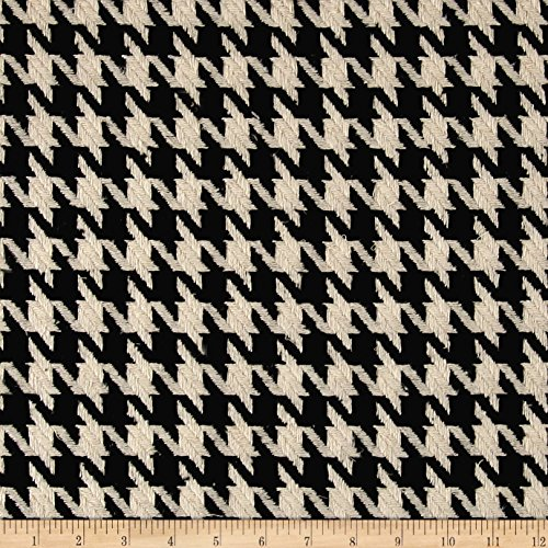 Ametex Fancy Houndstooth Basketweave Coating Black/White Fabric By The Yard ()