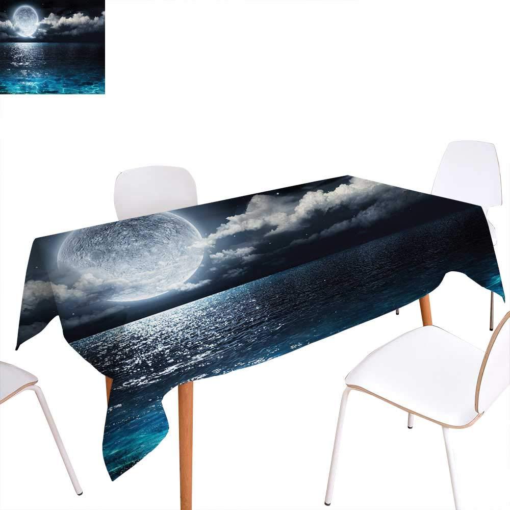 familytaste ナイトスカイプリントテーブルクロス ディープアウター 宇宙 星雲 星雲 霧 アートワーク 長方形テーブルクロス ダークブルーとライトブルー W60