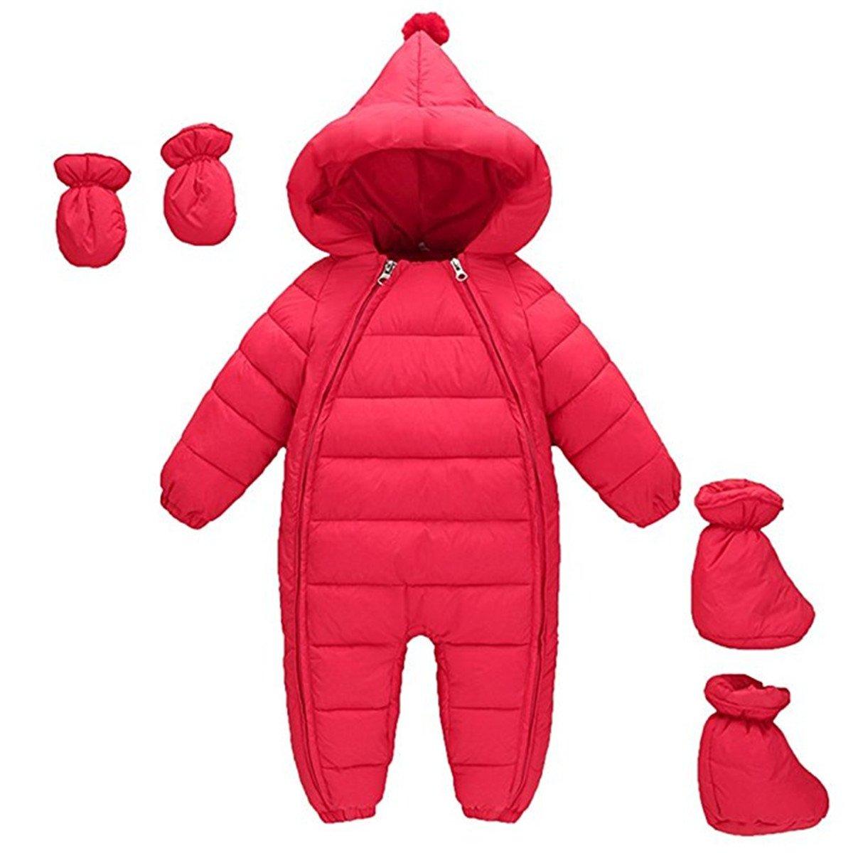 3Pcs Baby Girls Boys One Piece Zipper Down Jacket Winter Romper Jumpsuit Romper+Gloves+Shoes