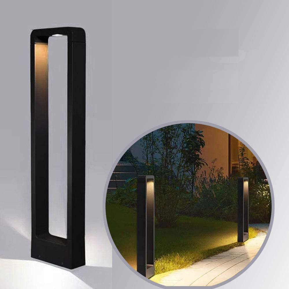 Led Bollard Landscape Exterior Black Lights Outdoor Bright Modern Aluminum Waterproof Lighting for House Garden Yard Post Mount Pathway 2700k Lawn spotlights Walkway
