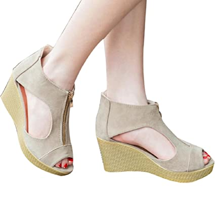 80b891085 Amazon.com  Fheaven Women Shoes Summer Zipper Sandals Casual Peep ...