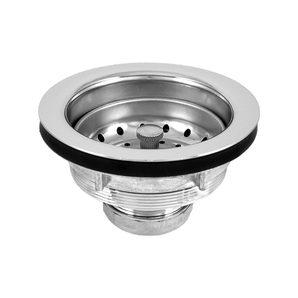 Dearborn L7 Lucky 7 Sink Basket Strainer, Chrome Plated Brass Body w/SS Basket, Metal Post, Heavy Locknut, Rubber Stopper, Thick Washer, Machine Cut Threads.