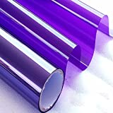 yazi Translucent Window Film Sticker Self Adhesive One Way Mirror Finish Daytime Privacy Glass Privacy Tint Purple Stickers 29.5inch by 15ft