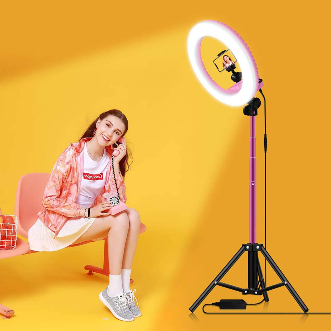 Youtube Videos LED Ring Fill Light 33Cm Dimmable Fill Light with Tripod And 2M Telescopic Support Bar Live And Photo Shoots,Pink for Makeup