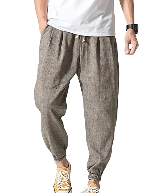 6dd54539b Hombre Sueltos Casual Harem Pantalones Color Sólido Pantalones con ...