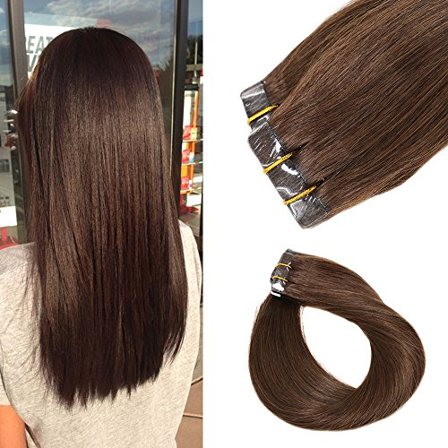 Mario Hair Tape In Human Hair Extensions Medium Brown Silky Straight Skin Weft Human Remy Hair