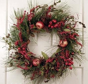 red berry cluster silk artificial holiday door christmas wreath 22 inches unique front door - How To Decorate Artificial Christmas Wreath