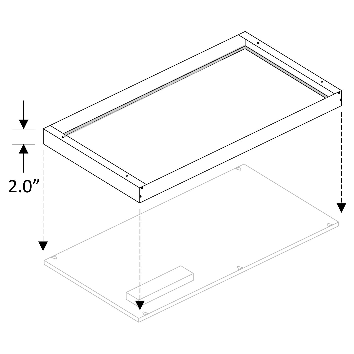 Cost Less Lighting Surface Mount Kit for 2x4 LED Flat Panel Drop Ceiling Light - Edge-Lit Light Fixture - 05-LEDPNL-SMKT24 u003c Bay Lighting u003c Tools u0026 Home ...  sc 1 st  TIBS & Cost Less Lighting Surface Mount Kit for 2x4 LED Flat Panel Drop ...
