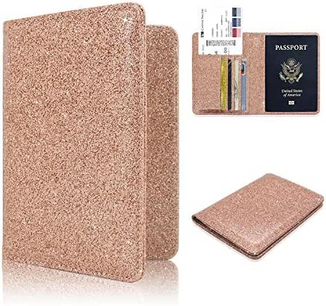 Passport Holder Case, ACdream Protective Premium Leather RFID Blocking Wallet Case for Passport, (Rose Gold Star of Paris)